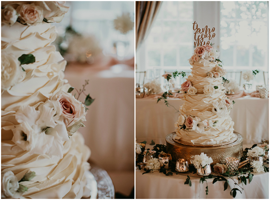 Edmonton Wedding Cakes, White and Blush Wedding Cake