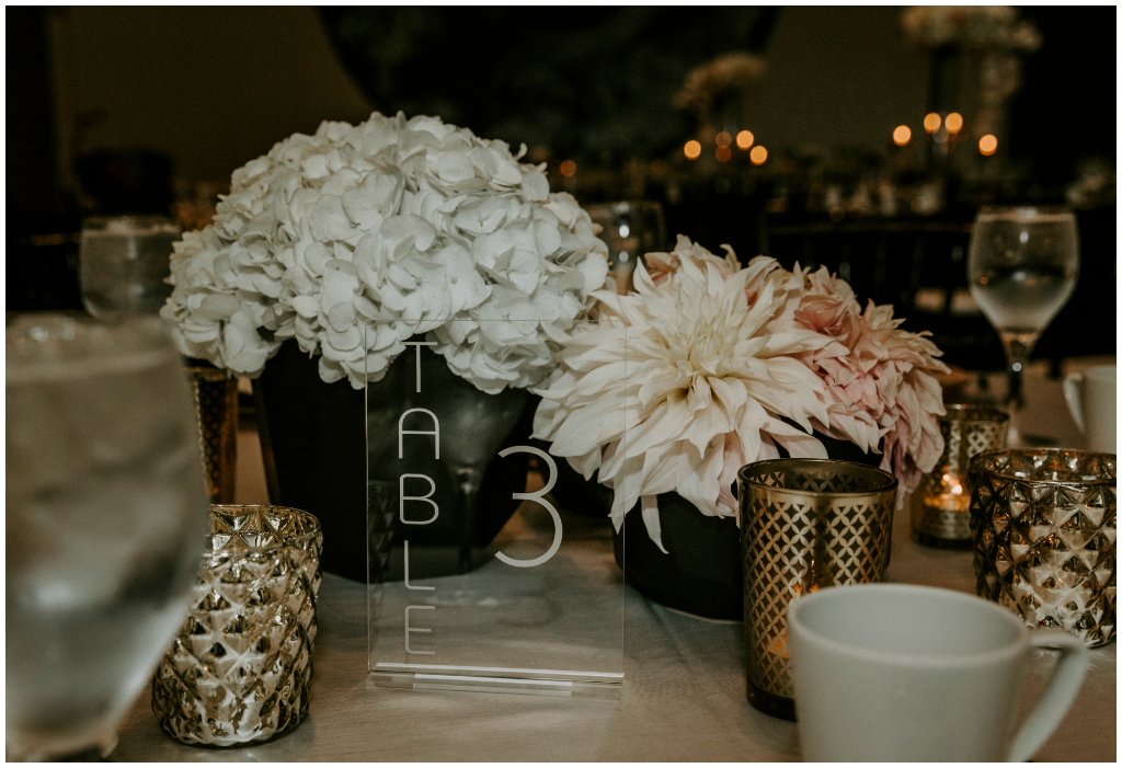 Black Gold and White Wedding Decor, Special Event Rentals