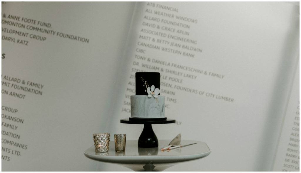 Black and Marble Wedding Cake