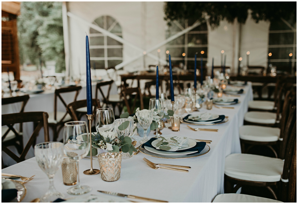 Navy and White Wedding Tables