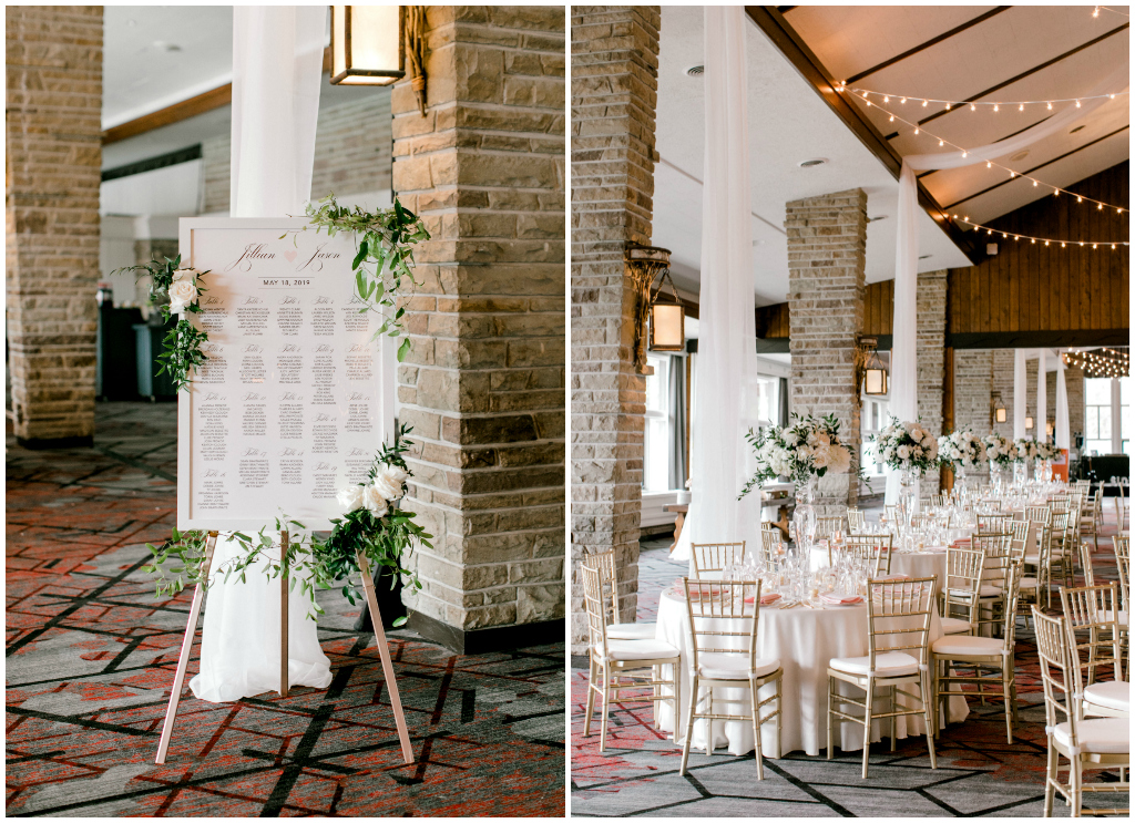 White with greenery seating chart