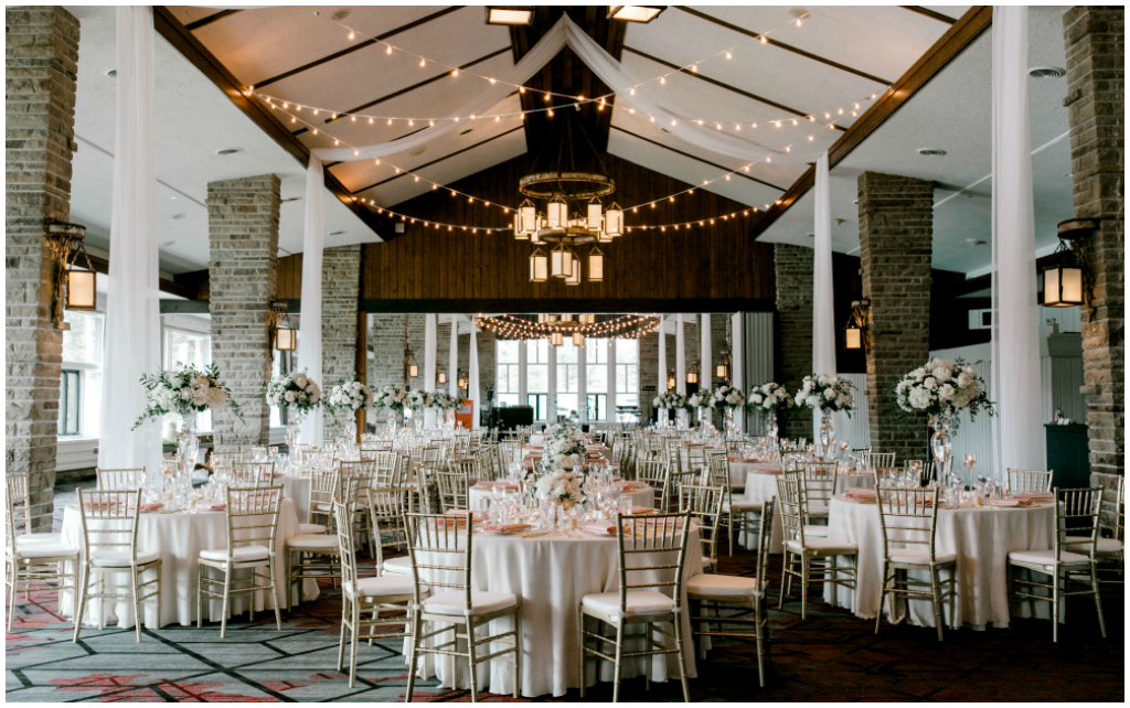 White Blush Gold Wedding Reception