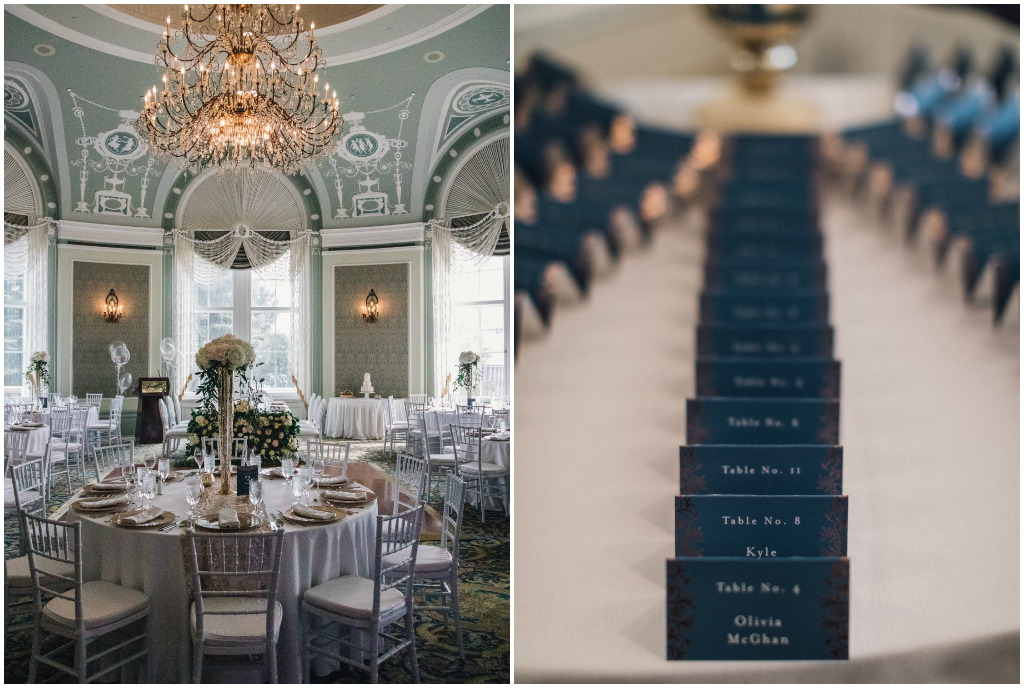 Navy Escort Card Table in the Wedgwood Room