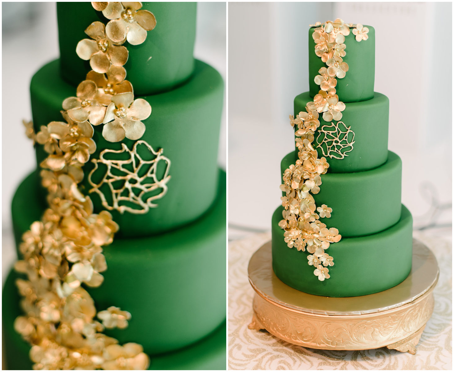 The Art of Cake Elegant Green and Gold Wedding Cake